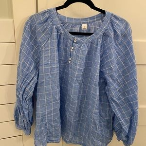 Baby blue checkered blouse